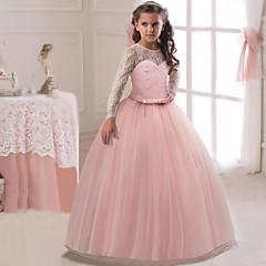 tanie Sukienki dla dziewczynek-Dzieci Dla dziewczynek Aktywny / Słodkie Impreza / Święto Solidne kolory Długi rękaw Maxi Sukienka Fioletowy