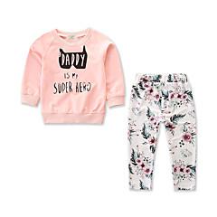 billige Babytøj-Baby Pige Blomstret / Trykt mønster Langærmet Tøjsæt