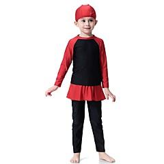 billige Badetøj til piger-Børn Pige Boheme Sport Farveblok Polyester / Nylon / Spandex Badetøj Sort 140