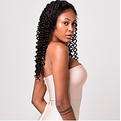 cheap Wigs & Hair Pieces-Human Hair Full Lace Wig Indian Hair Deep Curly Natural Black Wig Asymmetrical 130% Density with Baby Hair Women Natural Best Quality Natural Natural Black Women's Medium Length Human Hair Lace Wig