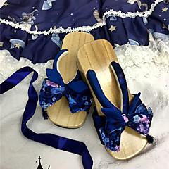 billige Lolitasko-كلاسيكي Vintage Flat hæl Trykt mønster Sløyfeknute 5 cm CM Blæk Blå / Blå / Rosa Til Andre Material Bomullsstoff Halloween-kostymer