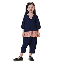 billige Tøjsæt til piger-Børn Pige Boheme Farveblok 3/4-ærmer Tøjsæt