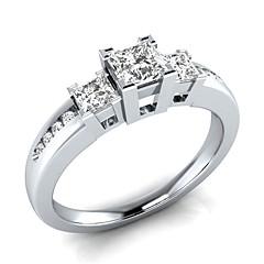 billige Motering-Dame Kubisk Zirkonium Elegant Ring - Kobber, Platin Belagt Romantikk 6 / 7 / 8 / 9 / 10 Hvit / Blå Til Engasjement Gave