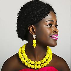 baratos Conjuntos de Bijuteria-Mulheres Camadas Conjunto de jóias - Bola Fashion Incluir Strands Necklace Azul / Rosa / Champanhe Para Festa Diário