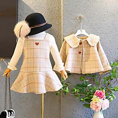 billige Tøjsæt til piger-Børn Pige Aktiv / Gade Daglig / I-byen-tøj Ternet Broderi Langærmet Normal Polyester Tøjsæt Beige 100