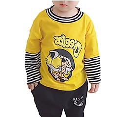 billige Hættetrøjer og sweatshirts til drenge-Børn / Baby Drenge Aktiv Daglig Stribet / Trykt mønster Patchwork Langærmet Normal Bomuld Hættetrøje og sweatshirt Hvid