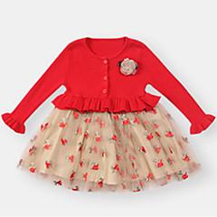 billige Babytøj-Baby Pige Blomstret / Farveblok Langærmet Kjole