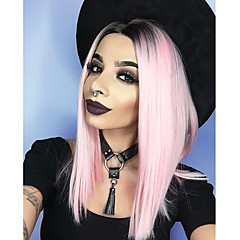 cheap Wigs & Hair Pieces-Fashion Straight Synthetic Lace Front Wig Gluless 1b Pink Color Wig Bob Haircut / Middle Part / Free Part Synthetic Hair Pink Wig Women's Medium Length Lace Front