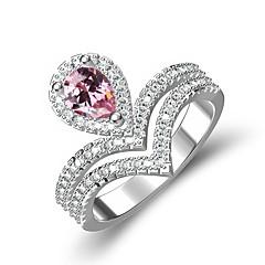 billige Motering-Dame Kubisk Zirkonium Elegant Ring - Kobber, Platin Belagt Krone Stilfull 6 / 7 / 8 / 9 Rosa Til Gave