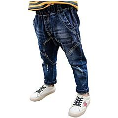 billige Jeans til drenge-Børn Drenge Aktiv Daglig Trykt mønster / Patchwork Hul / Patchwork Bomuld / Polyester Jeans Blå 110