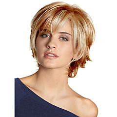 cheap Wigs & Hair Pieces-Human Hair Capless Wigs Human Hair Wavy Bob Haircut / Layered Haircut / With Bangs Side Part Black / Blonde / Brown Short Capless Wig Women's
