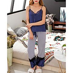 billige Moteundertøy-Dame Dyp V Dress Pyjamas - Stripet