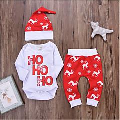 billige Sett med babyklær-Baby Pige Basale Jul / Daglig Ensfarvet / Farveblok Trykt mønster Langærmet Normal Normal Bomuld Tøjsæt Rød