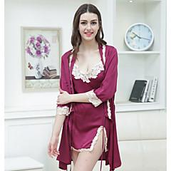 billige Moteundertøy-Dame Dyp V Sateng og silke Pyjamas - Ensfarget