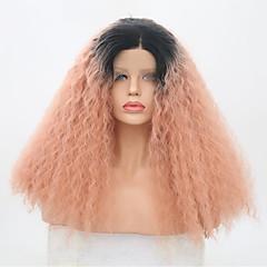 billiga Peruker och hårförlängning-Syntetiska snörning framifrån Dam Kinky Curly / Senegal Rosa Middle Part Syntetiskt hår 22 tum Justerbar / Värmetåligt / Party Rosa Peruk Lång Spetsfront Svart / Rosa / Ja