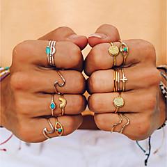 billige Motering-Dame Turkis Retro Ring Ring Set Midi Ring - Regnbue, Bølge trendy, Mote 7 Gull Til Daglig Ut på byen / 9pcs