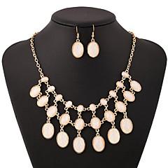 baratos Conjuntos de Bijuteria-Mulheres Branco Zircônia Cubica Camadas Conjunto de jóias - Chapeado Dourado Estiloso, Simples, Luxo Incluir Sets nupcial Jóias Dourado Para Festa Presente