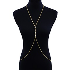 baratos Bijoux de Corps-Longas Cadeia corpo / Cadeia de barriga Criativo Europeu, Tropical, Étnico Mulheres Dourado Bijuteria de Corpo Para Bandagem / Bikini