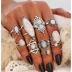 billige Motering-Dame Opal Vintage Stil Statement Ring Ring Set - Dråpe Bohemsk, Punk, Elegant Sølv Til Aftenselskap Klubb / 10pcs