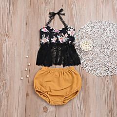 billige Sett med babyklær-Baby Pige Blomstret Uden ærmer Tøjsæt