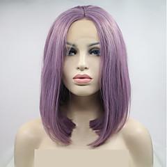 billiga Peruker och hårförlängning-Syntetiska snörning framifrån Dam Loose Curl Lila Bob-frisyr 130% Människohår Peruk Täthet Syntetiskt hår 12 tum Dam Lila Peruk Mellanlängd Spetsfront Mörklila Sylvia / Ja