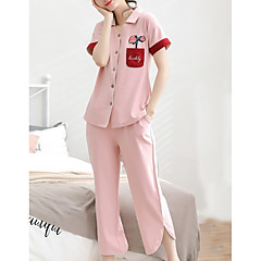 billige Moteundertøy-Dame Skjortekrage Dress Pyjamas - Fargeblokk