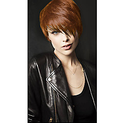 cheap Wigs & Hair Pieces-Human Hair Capless Wigs Human Hair Straight / Wavy / kinky Straight Pixie Cut / With Bangs Side Part Short Capless Wig Women's / Natural Wave