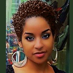 cheap Wigs & Hair Pieces-Human Hair Capless Wigs Human Hair Curly / Jerry Curl Pixie Cut Fashion Natural Black Short Machine Made Wig Women's