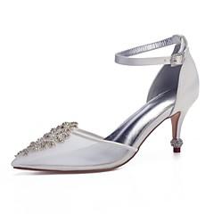0a18759a7 Mujer Zapatos transparentes Satén   Malla Primavera verano Dulce Zapatos de  boda Tacón Stiletto Dedo Puntiagudo Pedrería   Purpurina Blanco   Marfil    Boda ...
