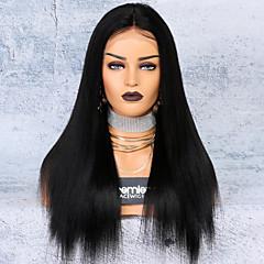 billiga Peruker och hårförlängning-Obehandlad hår Spetsfront Peruk Brasilianskt hår Yaki Rakt Peruk Deep Parting 250% Hårtäthet Heta Försäljning Tjock Naturlig Dam Lång Äkta peruker med hätta