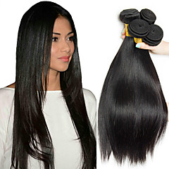 cheap Hair Extensions-4 Bundles Malaysian Hair Straight 8A Human Hair Natural Color Hair Weaves / Hair Bulk Extension Bundle Hair 8-28 inch Natural Color Human Hair Weaves Silky Smooth Human Hair Extensions Women's