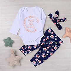 billige Sett med babyklær-Baby Pige Blomstret Langærmet Tøjsæt