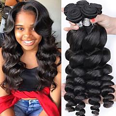 cheap Human Hair Weaves-3 Bundles Peruvian Hair Loose Wave 8A Human Hair Unprocessed Human Hair Natural Color Hair Weaves / Hair Bulk Bundle Hair One Pack Solution 8-28 inch Natural Color Human Hair Weaves Silky Smooth