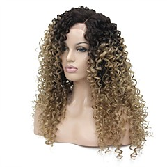 cheap Wigs & Hair Pieces-Synthetic Lace Front Wig Women's Kinky Curly Light Brown Side Part Synthetic Hair 24 inch 100% kanekalon hair Light Brown Wig Long Glueless Lace Front Dark Brown / Golden Blonde