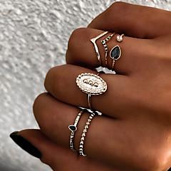 billige Motering-Dame Retro Knokering Ring Set Multi-fingerring - Harpiks Sol Vintage, Punk, Bohem 8 Gull / Sølv Til Gave Daglig Gate / 6pcs
