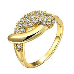 billige Motering-Dame Klar Kubisk Zirkonium Klassisk Ring - 18K Gull Mote 7 / 8 Gull / Rose Gull Til Daglig Bursdag