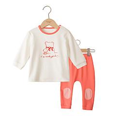billige Tøjsæt til piger-Baby Pige Basale Daglig Ensfarvet Langærmet Bomuld Tøjsæt Blå 100
