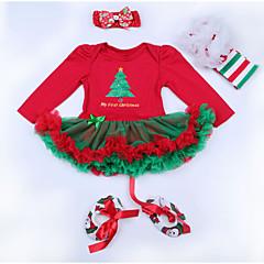 billige Babytøj-Baby Pige Aktiv Jul Trykt mønster Trykt mønster Langærmet Polyester Kjole Rød