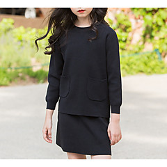 billige Tøjsæt til piger-Børn Pige Gade Daglig Ensfarvet Langærmet Polyester Tøjsæt Sort 140