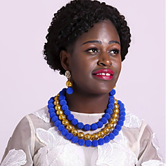 baratos Conjuntos de Bijuteria-Mulheres Camadas Conjunto de jóias - Fashion Incluir Strands Necklace Verde / Rosa claro / Rosa Para Diário