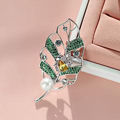 billige Motebrosjer-Dame Kubisk Zirkonium Nåler - Perle, Sølvplett, Gullbelagt Blad Formet Stilfull, trendy Brosje Gull / Sølv Til Gate