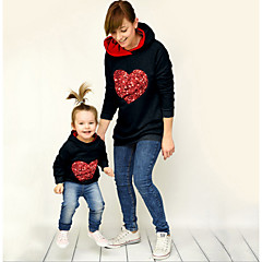 billige Sett med familieklær-Mamma og meg Aktiv Daglig Geometrisk Langermet Polyester Hettegenser og sweatshirt Hvit Jenter 110