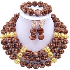 baratos Conjuntos de Bijuteria-Mulheres Camadas Conjunto de jóias - Fashion Incluir Strands Necklace Vermelho / Verde / Rosa Para Casamento