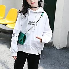 billige Hættetrøjer og sweatshirts til piger-Børn Pige Basale Daglig / Sport Ensfarvet Langærmet Normal Bomuld / Rayon Hættetrøje og sweatshirt Grøn