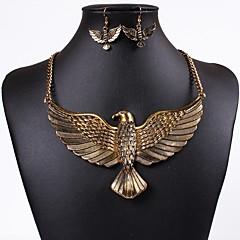 baratos Conjuntos de Bijuteria-Mulheres 3D Conjunto de jóias - Eagle Hipérbole Incluir Brincos Compridos Colar Dourado / Prata Para Diário Festival