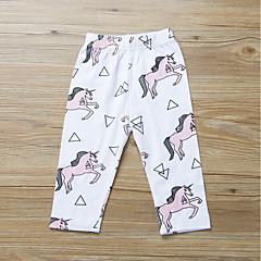 billige Bukser og leggings til piger-Baby Pige Aktiv / Basale Daglig / Sport Trykt mønster Trykt mønster Bomuld Bukser Hvid 100