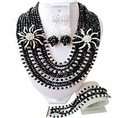 baratos Conjuntos de Bijuteria-Mulheres Camadas Conjunto de jóias - Fashion Incluir Strands Necklace Verde / Rosa / Champanhe Para Casamento