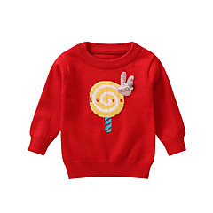 billige Sweaters og cardigans til babyer-Baby Pige Basale Trykt mønster Langærmet Normal Polyester Trøje og cardigan Rød 100