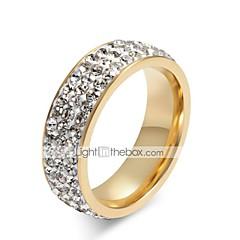 Χαμηλού Κόστους Βέρες-Γυναικεία Διάφανο Cubic Zirconia Σωρός Band Ring Δαχτυλίδι - Τιτάνιο Ατσάλι Στυλάτο 5 / 6 / 8 / 9 / 10 Λευκό Για Δώρο