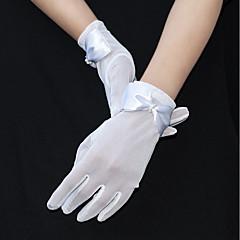 Χαμηλού Κόστους Γάντια για πάρτι-Τούλι Μέχρι τον καρπό Γάντι Γάντια / Ρομαντικό Με Ribbon Bow / Ψεύτικο Μαργαριτάρι / Κρόσσι